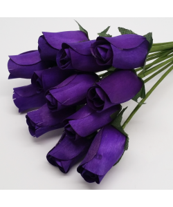 One Dozen Wax Dipped Wooden Roses Purple