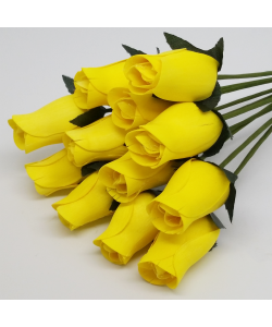 One Dozen Wax Dipped Wooden Roses Yellow