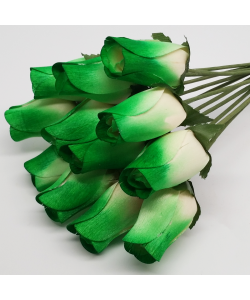 One Dozen Wax Dipped Wooden Roses Green and White
