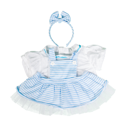Blue Pinstripe Pinafore with Bow Headband 8 inch