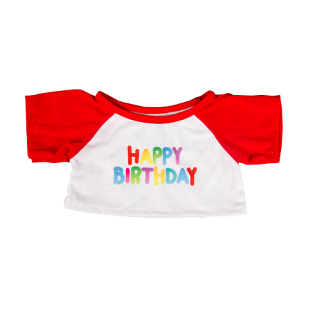 Happy Birthday TShirt with Red Sleeves 16 inch