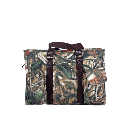 Natural Camo Utility Tote with Brown Trim Bag