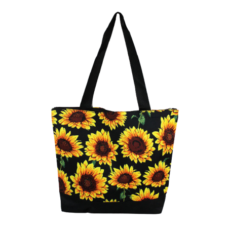 SUNFLOWER WITH BLACK TRIM TOTE BAG