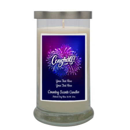 Congrats Fireworks Personalized Candle