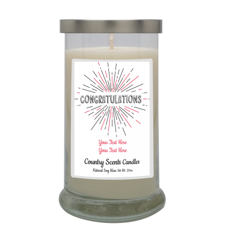 Congrats White Background Personalized Candle