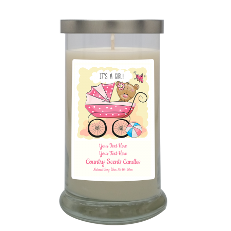Its a Girl Buggie Personalized Candle