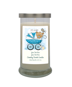 Its a Boy Buggie Personalized Candle