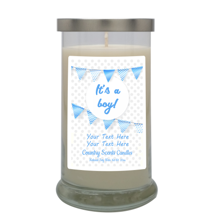 Its a Boy Flags Personalized Candle
