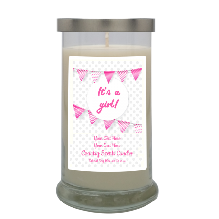 Its a Girl Flags Personalized Candle
