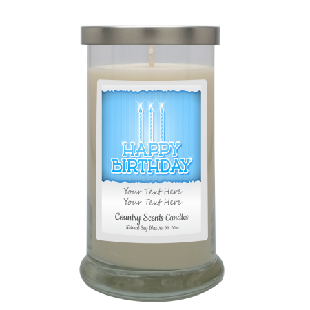 happy Birthday Blue Personalized Candle