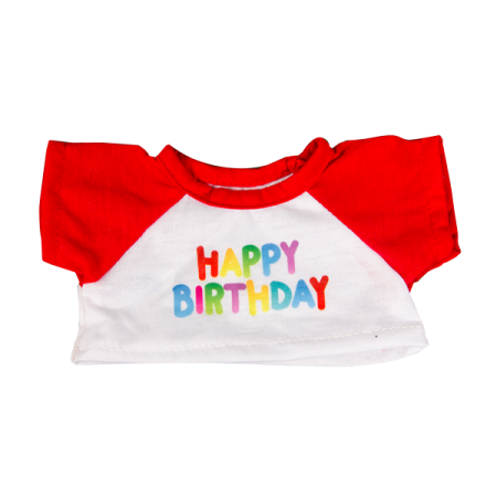 Happy Birthday TShirt with Red Sleeves 8 inch
