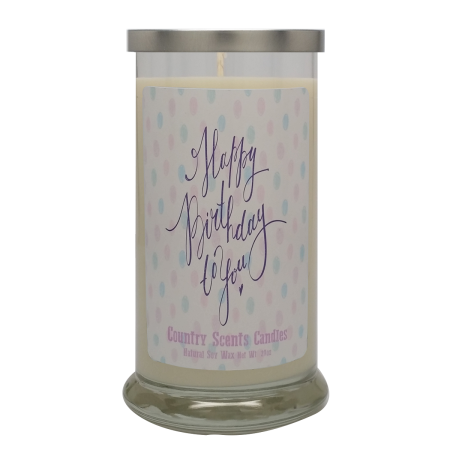 Happy Birthday (polka dots) 20 Libbey Candle