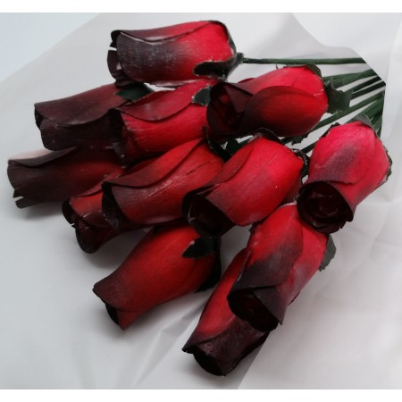 One Dozen Wax Dipped Wooden Roses Red and Black